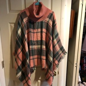 Pink and green plaid poncho